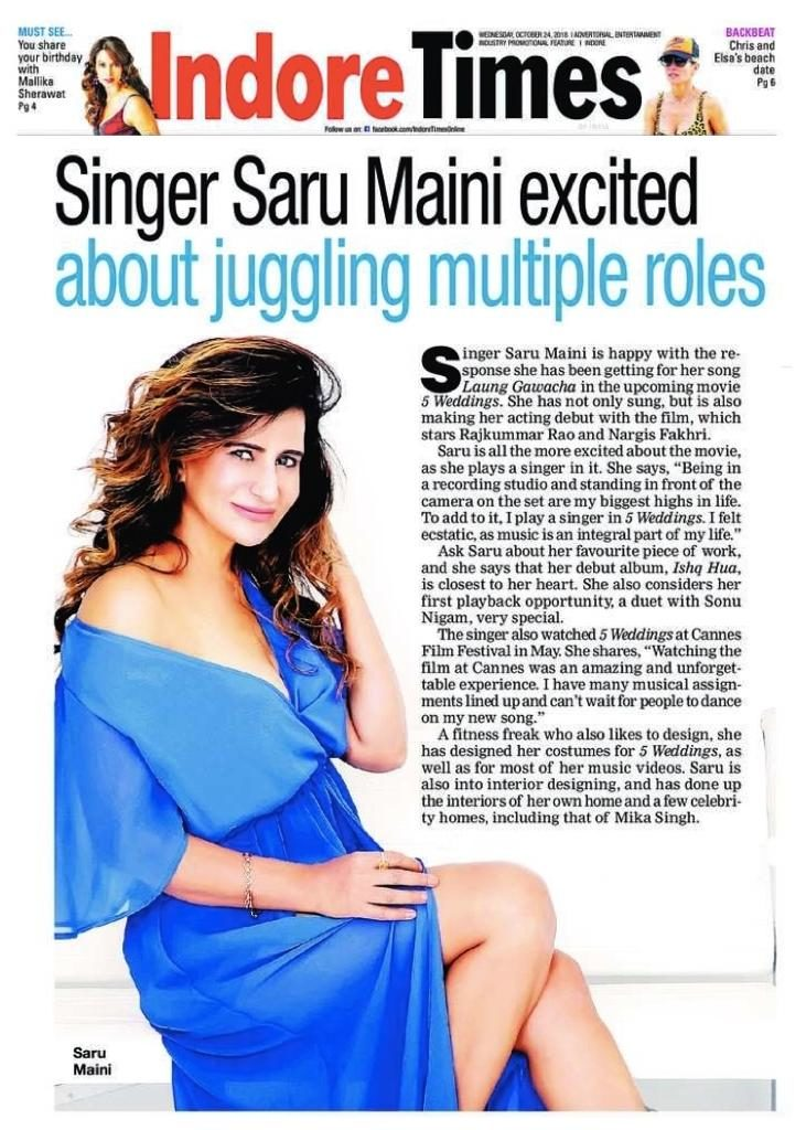 Saru Maini Indore Times article