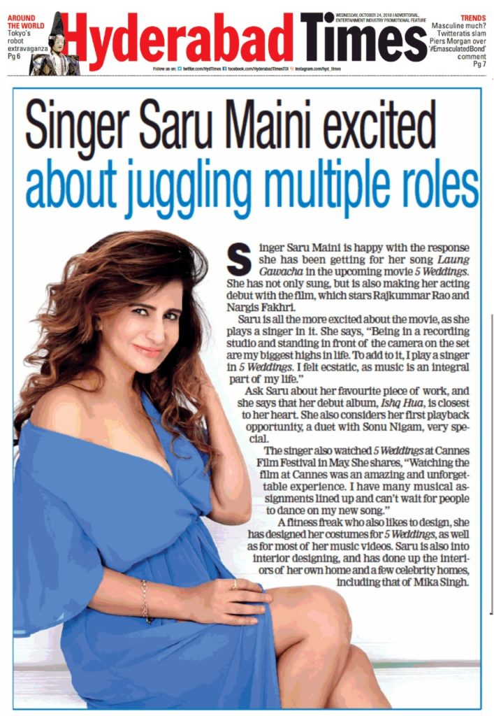 Saru Maini Hyderabad Times Article