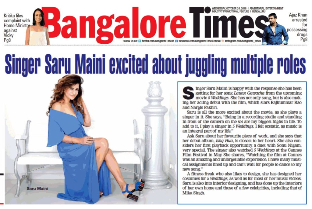 Saru Maini Bangalore times article