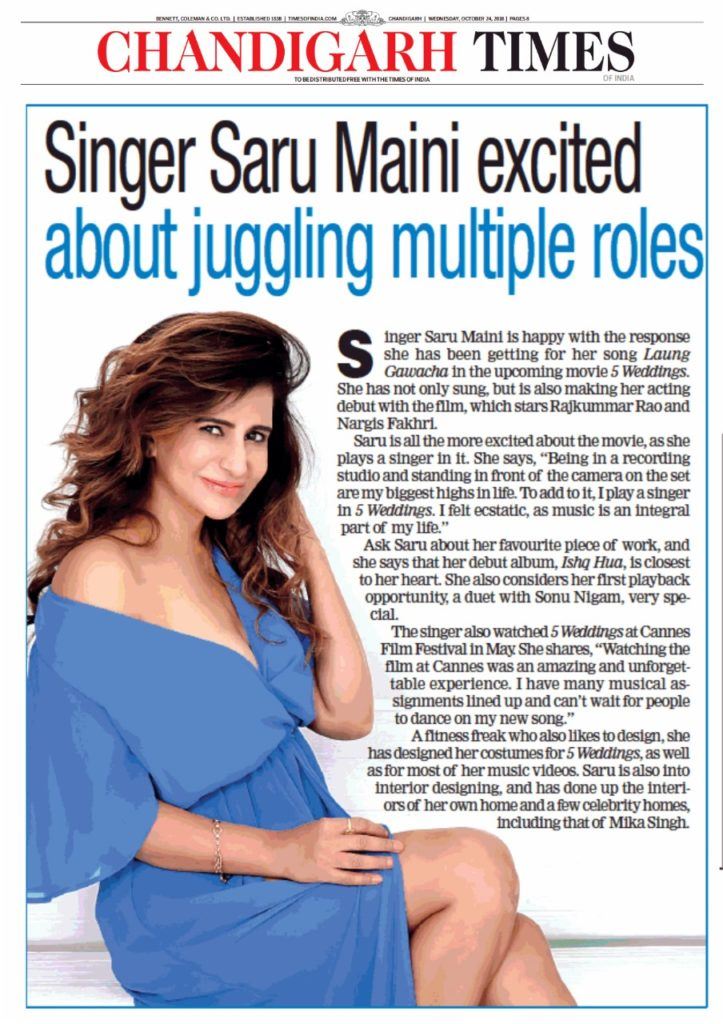 Saru Maini Chandigarh Times article